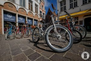A bicycle in front of Bruges bike shop Exceller Bikes