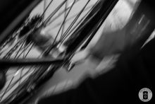 A bicycle wheel in motion while under repair at Exceller Bikes in Bruges (photo by Photo Tour Brugge)