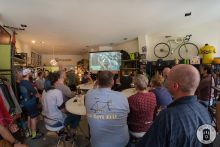 A group of friends invited to watch the Tour of Flanders at Exceller Bikes, April 2017 (photo by Photo Tour Brugge)